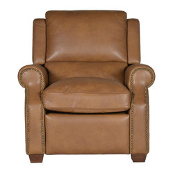 5 Horizons - Sutton Leather Recliner - The perfect addition to your living room, this recliner offers comfort and durability. Individually handcrafted, offering uniqueness to each piece.  Upholstered in soft, camel top grain leather with highs and lows for a worn-in appeal. Kiln-dried hardwood frame provides lasting durability.
