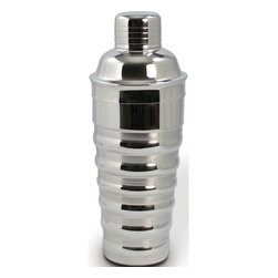 """Cuisinox - 24 oz Cocktail Shaker, Ribbed - Amaze your friends with your barman talents as you brew your favorite cocktails and drinks using this polished stainless steel cocktail shaker. These shakers have unique dimple imprints for easy grasping and include caps and built-in strainers. They are great for that martini """"Shaken not Stirred,"""" and are amazing for mixing homemade salad dressings.; Material: 18/10 Two-toned Stainless steel; Dishwasher safe; Country of Origin: India; Weight: 1.5 lbs; Dimensions: 10""""H x 4""""W x 4""""D"""