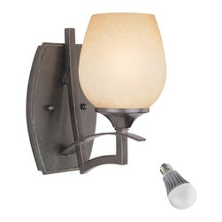 Design Classics Lighting - Single-Light Sconce with LED Bulb - 2736-34  8W LED - This wall sconce features curvaceous arms which adds a more organic feel to hallways, powder rooms, and entryways. Included is an energy savings LED bulb which lasts up to last 6 times longer than compact fluorescent bulbs and 35 times longer than an incandescent. Features a medium base with white diffuser and vented heat sink. Takes (1) 9.5-watt LED A19 bulb(s). Bulb(s) included. Dry location rated.