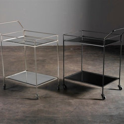 Notre Monde - Antique Beveled Mirror Bar Cart with Silver Finish