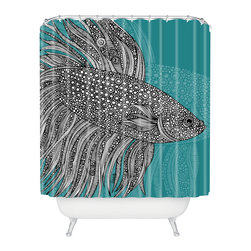 DENY Designs - Valentina Ramos Beta Fish Shower Curtain - Who says bathrooms can't be fun? To get the most bang for your buck, start with an artistic, inventive shower curtain. We've got endless options that will really make your bathroom pop. Heck, your guests may start spending a little extra time in there because of it!