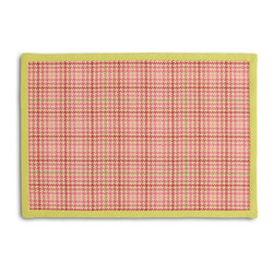 Pink Houndstooth Tailored Placemat Set - Class up your table's act with a set of Tailored Placemats finished with a contemporary contrast border. So pretty you'll want to leave them out well beyond dinner time! We love it in this bubble gum pink & lime green classic houndstooth so cute it will give you a sweet tooth.