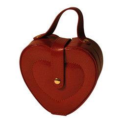 Budd Leather - Lizard Print Heart Shaped Jewel Box With Handle, Red - Lizard Print Heart Shaped Jewel Box With Handle,  Red