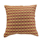 """Banarsi Designs - Modern Squares Pillow Cover, Set of 2, Choco Wine - The best way we can describe the decorative Banarsi """"Modern Squares Pillow Cover"""" is simple, but certainly not understated! One of the greatest Ancient Greek Philosophers by the name of Plato once said: """"Beauty of style and harmony and grace and good rhythm depend on simplicity."""""""