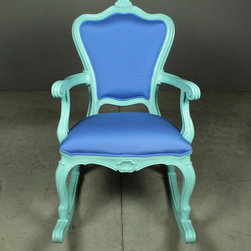 petite rocking chair – blue - view this item on our website for more information + purchasing availability: http://redinfred.com/shop/category/furnish/chairs/petite-rocking-chair-blue/