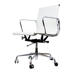IFN Modern - Eames Ribbed Low Back Chair - Our Angus chair isn't just a minimalist work of art, it is designed to perfectly fit the movement of the body for optimum comfort. Bring a beautifully designed office chair home with IFN's Angus Ribbed Low Back Chair, an investment piece that combines technology and strength to form one beautiful object.â— Available in 100% Full Grain Italian Leather and 100% Full Grain Aniline Leather â— Variety of colors availableâ— Stainless Steelâ— Aluminum alloy chromed frame and baseâ— Tilt and full swivel mechanismâ— Height adjustment with gas-liftâ— Five star base with casters