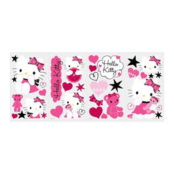 RoomMates Peel & Stick - Hello Kitty Couture Wall Decals - Get stylish with hello kitty! These sweet wall stickers are sure to please hello kitty fans of any age. Each set contains over 30 wall decals, including hearts, bows, stars and Kitty, of course! The decals can be applied to any smooth surface, including walls, doors, furniture, lockers, and more. Try them in bedrooms, dorm rooms, playrooms, or wherever else your heart desires. You'll love how easy it is to transform any space with Hello Kitty!