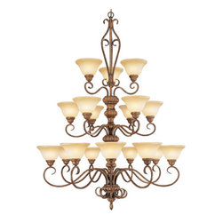 Livex Lighting - Livex Lighting 8299 18 Light 1080W Chandelier - 18 Light 1080W Chandelier with Medium Bulb Base and Art Glass from Bistro SeriesProduct Features: