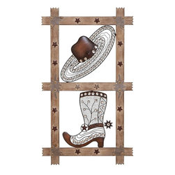 "Benzara - Wall Decor Are Stylishly Sculpted From Wrought Metal - Easy to fix, put this wall decor in your living room, hall or passageway and add a rustic charm to your decor. The minute detailing done on the boot and hat add to the beauty of this wall decor. The wooden panel is embellished with metal stars that further accentuate the Wild West charm. Place it on your bare walls and bring them to life instantly. Perfect for your adding an earthy charm to your outdoors, this decorative piece looks equally great on your patio, porch or garden wall too. With its superlative western charm, this piece adds spunk and character to your decor. So if you want something that grabs attention, this is G��the' wall decor that you are looking out for! Deck up your walls in cowboy style with this amazing wall decor made from wood and metal. The quintessential cowboy hat and boots are stylishly sculpted from wrought metal.; Made from wood and metal; Embellished with stylish cowboy hat and boot; Perfect for adorning both your indoor and outdoor space; Weight: 1.76 lbs; Dimensions:19""W x 1""D x 33""H"