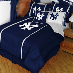 Sports Coverage - MLB New York Yankees Sidelines Bedding - Complete Set - Queen w/ 2 Sham - Save big and show your MLB team spirit with New York Yankees Sidelines Bedding Set, including the Comforter, Micro Fiber Sheet set, Pillow sham and Bed skirt! Buy this Complete set and save off our already discounted prices. Everything is made from 100% Polyester Jersey Mesh - just like the players wear. Show your team spirit with this great looking officially licensed Comforter which comes in new design with sidelines.   Microfiber Sheet Hem sheet sets have an ultrafine peach weave that is softer and more comfortable than cotton.  Its brushed silk-like embrace provides good insulation and warmth, yet is breathable.  The 100% polyester microfiber is wrinkle-resistant, washes beautifully, and dries quickly with never any shrinkage. The pillowcase has a white on white print beneath the officially licensed team name and logo printed in vibrant team colors, complimenting the NEW printed hems. The Teams are scoring high points with team-color logos printed on both sides of the entire width of the extra deep 4 1/2 hem of the flat sheet.    2 flanged edge that decorates all four sides of each Pillow sham. Made of 100% polyester jersey mesh, just like the players wear.  Bedskirt available in team color with no team logo printed on them.  Includes:  -  Comforter - Twin 66 x 86, Full/Queen 86 x 86,    -  Flat Sheet - Twin 66 x 96, Full 81 x 96, Queen 90 x 102.,    - Fitted Sheet - Twin 39 x 75, Full 54 x 75, Queen 60 X 80,    -  Pillow case Standard - 21 x 30,    - Pillow Sham - 25 x 31,    -  Bedskirt - Twin 76 x 39, Full 76 x 54, Queen 80 x 60 ,
