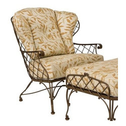 Woodard Brayden Stationary Lounge Chair - Why did wrought iron furniture of the past have to be so heavy when we have roomy, lightweight wrought iron like the Woodard Brayden Stationary Lounge Chair? The days of very flat, very hard and extremely heavy garden benches are over thanks to this luxurious outdoor chair. A lattice pattern covers the surface while little, curled details give this piece a classic feel. The wrought iron body is covered with a baked-on powder-coat finish that not only helps to prevent corrosion and weathering, it's also available in the color of your choice. Inside this roomy frame is a pair of plump cushions that are covered in Sunbrella fabric. Sunbrella's been taking over with their innovative all-weather textiles that are designed specifically for the rigors of outdoor use. Offered in a range of colors and styles, this durable fabric is fade-resistant and easy to clean.Important NoticeThis item is custom-made to order, which means production begins immediately upon receipt of each order. Because of this, cancellations must be made via telephone to 1-800-351-5699 within 24 hours of order placement. Emails are not currently acceptable forms of cancellation. Thank you for your consideration in this matter.Woodard: Hand-crafted to Withstand the Test of TimeFor over 140 years, Woodard craftsmen have designed and manufactured products loyal to the timeless art of quality furniture construction. Using the age-old art of hand-forming and the latest in high-tech manufacturing, Woodard remains committed to creating products that will provide years of enjoyment.Superior Materials for Lasting DurabilityEach piece in the Classics Collection is hand-formed using solid wrought iron stock: the heaviest available. The technique used to create Woodard wrought iron furniture has been handed down from generation to generation. To this day, expert workers use anvils and hammers to forge intricate detail in the iron.Fabric, Finish, and Strap Features All fabric, finish, and straps are manufactured and applied with the legendary Woodard standard of excellence. Each collection offers a variety of frame finishes that seal in quality while providing color choices to suit any taste. Current finishing processes are monitored for thickness, adhesion, color match, gloss, rust-resistance and, and proper curing. Fabrics go through extensive testing for durability and application, as well as proper pattern, weave, and wear.Most Woodard furniture is assembled by experienced professionals before being shipped. That means you can enjoy your furniture immediately and with confidence.Together, these elements set Woodard furniture apart from all others. When you purchase Woodard, you purchase a history of quality and excellence, and furniture that will last well into the future.