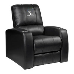 Dreamseat Inc. - Baseball Home Run Swing Home Theater Leather Recliner - Check out this awesome Leather Recliner. Quite simply, it's one of the coolest things we've ever seen. This is unbelievably comfortable - once you're in it, you won't want to get up. Features a zip-in-zip-out logo panel embroidered with 70,000 stitches. Converts from a solid color to custom-logo furniture in seconds - perfect for a shared or multi-purpose room. Root for several teams? Simply swap the panels out when the seasons change. This is a true statement piece that is perfect for your Man Cave, Game Room, basement or garage. It combines contemporary design with the ultimate comfort from a fully reclining frame with lumbar and full leg support.