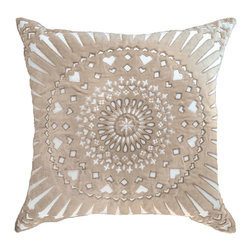 """Bandhini - Mayan Sphere Beige Lounge Throw Pillow - The Mayan lounge throw pillow dazzles with bold modernity. On white cotton, beige velvet captures attention in textured circular patterns. 21""""W x 21""""H; 80% cotton, 20% velvet; Dry clean; Grey goose down fill insert included"""