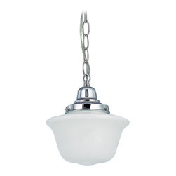 Design Classics Lighting - 8-Inch Chrome Schoolhouse Mini-Pendant Light with Chain - FB4-26 / GD8 / B-26 - Polished chrome finish mini-pendant light with Bridlemile schoolhouse opal white glass. Takes (1) 150-watt incandescent A21 bulb(s). Bulb(s) sold separately. UL listed. Dry location rated.