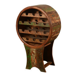 Sierra Living Concepts - Rustic Barrel Reclaimed Wood Wine Rack - Now you can return the wine to the barrel with this novelty wine rack. The handmade open bottle cabinet can hold up to 14 bottle of your finest wine. The round rack is fun and eco-friendly because it's built with reclaimed wood from Gujarat. The surface of the old wood is naturally seasoned over time and has achieved a distressed quality.
