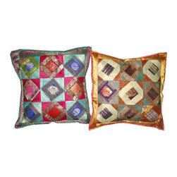 Silk Sari Cushion Cover - Decorative Throw Pillows 2 Vintage Sari Cushion Covers