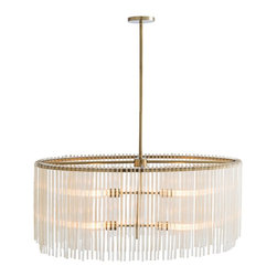 "Arteriors - Royalton Oval Chandelier - The antique brass plating and uneven ribbed amber glass rods lend a transitional feel to this modern design. The four lights provide plenty of light when hanging over a rectangle dining table. Shown with radio bulbs. Height is adjustable from 19"" to 49"". Takes four 40 watt bulbs."