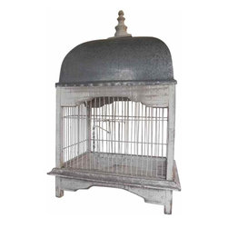 French Birdcage - One wire and zinc french vintage birdcage.  It has been painted white in the shabby chic style with a zinc top and a wooden decorative finale.