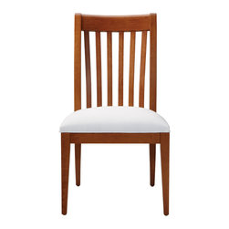 Ethan Allen - Teagan Side Chair - It's okay if the Teagan chair makes you feel a little slathappy--it tends to have that affect. The classic, craftsman-styled side chair features a slatted, steam-bent back that's eye catching. The Teagan is the perfect choice for those who have an eye for the distinguished look of classic, unfettered lines.