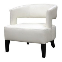 Baxton Studio Off White Leather Club Chair - The Baxton Studios Club Chair - Off White Leather will transform your home into a chic urban dwelling.This sleek off-white leather club chair is constructed with a solid wood frame and wooden black legs. The shape and design provide an affordable urban feel that will have your guests talking.About Baxton StudiosThis item is designed and manufactured by Wholesale Interiors, Inc., a furniture company based near Chicago. A lot goes into the making of furniture, and it all starts with attention to details. They hand select their unique line of leather and micro-fiber fabrics. Their furniture is padded with high polyurethane foam to create the body contouring comfort and support for which Baxton Studios is famous. All frames are constructed of high quality wood or steel on select models, providing sturdy frame construction that exceeds industry standards. Wholesale Interiors, Inc. is committed to constantly providing stylish and unique furniture for the best value to help you create a comfortable living space with ease and confidence.