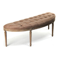 Kathy Kuo Home - French Country Louis XVI Copper Linen Vanity Hallway Bench - Take a seat, throw clothes or place magazines on this beautifully crafted, curved banquette in the Louis XVI style. Natural brown copper linen fabric tufted and gathered adds luxury to a bedroom or quiet elegance to a living room. The rustic, weathered frame with exquisite hand-carved detail keeps the look decorative and decidedly European.