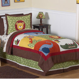 Sweet Jojo Designs - Sweet Jojo Designs Boys 'Jungle Time' 3-piece Full/Queen Comforter Set - Give your little explorer the perfect bedroom theme with this adorable 'Jungle Time' bedding set from Sweet Jojo Designs. Bold primary colors and several different wild animals makes this comforter and sham set the perfect choice for your adventurer.