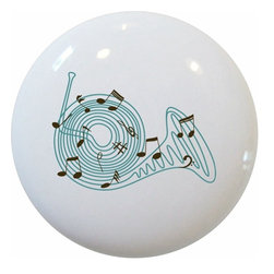 Carolina Hardware and Decor, LLC - French Horn Musical Notes Ceramic Knob - 1 1/2 inch white ceramic knob with one inch mounting hardware included.  Great as a cabinet, drawer, or furniture knob.  Adds a nice finishing touch to any room!