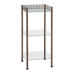 Organize It All - Organize It All Morocco 63403W-1 3 Tier Shelf - 63403W-1 - Shop for Caddies and Stands from Hayneedle.com! You don't have to travel to distant lands to get the exotic beauty of the Organize It All Morocco 63403W-1 3 Tier Shelf in your bathroom. This space-saving design features three convenient tempered glass shelves. The sturdy metal frame features a Moroccan-inspired design and rich oil-rubbed bronze finish. Just right for towels and accessories.About Organize It All With masterful designs using top-quality materials Organize It All is dedicated to providing convenient and stylish storage solutions for every room in your home believing that a well-organized environment is more enjoyable.