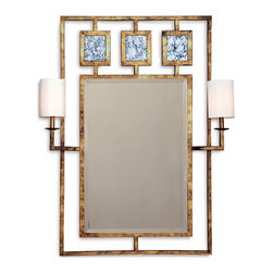 Kathy Kuo Home - Park Avenue Hollywood Regency Gold Leaf Mirror With Sconces - Make a stunning first impression with this mirror and sconce combo. Hung in an entryway, above a console or in the bath, it allows you to get your glam on.