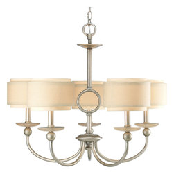 Progress Lighting - Progress Lighting P4462-134 5-Light Chandelier with Toasted Linen Drum Shades - Progress Lighting P4462-134 5-Light Chandelier with Toasted Linen Drum Shades