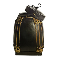 Foreign Affairs Home Decor - Decorative Bamboo Storage Containers NASI, Black, Medium - These bamboo containers were used to store rice and other commodities. Now there are more sculpture than everyday objects but can be used safely to store everything from spices to laundry.