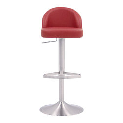 Zuri Furniture - Red Mimi Swivel Armless Bar Stool - The fabulous Mimi bar stool is a design that brings the best of both modern and retro styling together. The accommodating seat is superbly well padded, with a thick cushion that brings excellent levels of comfort, enhanced by the mid height backrest that curves from one side of the seat to the other, hugging your back and providing all the support you need. Available in a range of classic leatherette colors, and sitting on brushed stainless steel metalwork, the Mimi will take pride of place at any kitchen or breakfast bar. The brushed steel matches with all those brushed steel appliances for a uniform look and holds the gas lift mechanism for 360 degree swivel and adjustable height. A protective floor guard beneath the round base finishes off the package, making the Mimi a tempting proposition.