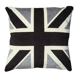 "Large Chenille and Down British Flag Pillow - It's a big, comfy, soft, down feather pillow, that still manages to maintain a hip, Mod feeling. The front has a British flag jacquard design in Chenille while the back is in solid black fabric. The 22"" square has an invisible zipper on the side."