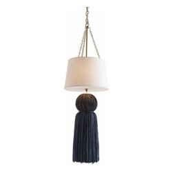 """Arteriors - Arteriors Home Tassel Black and Navy 2L Pendant DK49939 - Arteriors Home - Tassel Black & Navy 2L Pendant - DK49939 Features: Tassel Collection Pendant 12 Lights PendantBlack & NavyWhite ShadeWhite LiningAntique Brass ChainDiffuser Some Assembly Required. Dimensions: H 38"""" x 12"""" Dia"""