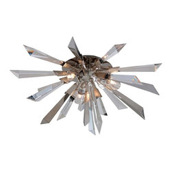 Canter White - Canter White Inertia Three Light Flush - Crystal and Polished Stainless Prisms. Silver Leaf Finish with Crystal Lamp Diffuser and Hand Crafted Iron.