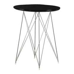 "Monarch Specialties - Monarch Specialties 36 Inch Round Bar Table in Black, Chrome - Create a trendy contemporary look with this glossy black 36"" diameter bar table. This piece features sleek chrome metal legs and a smooth surface ideal for drinks and tapas. This table is great for entertaining guest especially in smaller spaces. What's included: Bar Table (1)."