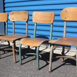 Set of 4 1968 Children's School Chairs by School of Vintage - Other than the amazing price, these vintage schoolhouse chairs would also add a sweet charm to a child's play space.  What fun to set these around a simple table and watch the coloring begin.