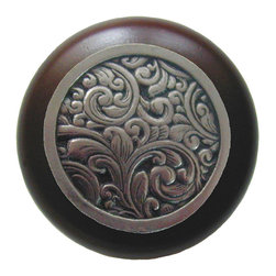 """Notting Hill - Notting Hill Saddleworth/Dark Walnut Wood Knob - Brite Nickel - Notting Hill Decorative Hardware creates distinctive, high-end decorative cabinet hardware. Our cabinet knobs and handles are hand-cast of solid fine pewter and bronze with a variety of finishes. Notting Hill's decorative kitchen hardware features classic designs with exceptional detail and craftsmanship. Our collections offer decorative knobs, pulls, bin pulls, hinge plates, cabinet backplates, and appliance pulls. Dimensions: 1-1/2"""" diameter"""