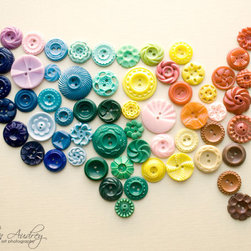 United States in Buttons by Jillian Audrey Designs - This print of the US map made up of vintage buttons would add a hit of texture to the nursery wall.