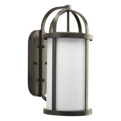 """Progress Lighting - Progress Lighting P5728-20 Greetings 9-1/2"""" 1 Light Outdoor Wall Lantern in Anti - Stylish outdoor wall lantern with etched opal glass and a banded metal framework.ADA Compliant: No Bulb Included: No Bulb Type: Incandescent Collection: Greetings DarkSky: No Depth: 12-3 8 Finish: Antique Bronze Glass: Etched Opal Height: 21-1 8 Height to Center: 11-3 8 Light Direction: Ambient Lighting LowVoltage: No Motion Sensor: No Number of Lights: 1 Photocell: No Shade Material: Glass Shade Shape: Cylinder Socket 1 Base: Medium Socket 1 Max Wattage: 100 Socket base: Medium Solar: No Style: Medium Suggested Room Fit: Outdoor Title 22: No Title 24: No Wattage: 100 Weight: 15 Width: 9-1 2"""