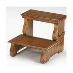 Bernards - Step Stool in Oak Finish - Made of wood. 18 in. W x 18.50 in. D x 15.75 in H