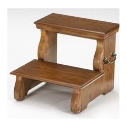 Bernards - Step Stool in Oak Finish - Made of wood. 18 in. W x 18.50 in. D x 15.75 in H