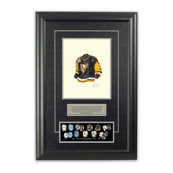 "Heritage Sports Art - Original art of the NHL 1990-91 Pittsburgh Penguins jersey - This beautifully framed piece features an original piece of watercolor artwork glass-framed in an attractive two inch wide black resin frame with a double mat. The outer dimensions of the framed piece are approximately 17"" wide x 24.5"" high, although the exact size will vary according to the size of the original piece of art. At the core of the framed piece is the actual piece of original artwork as painted by the artist on textured 100% rag, water-marked watercolor paper. In many cases the original artwork has handwritten notes in pencil from the artist. Simply put, this is beautiful, one-of-a-kind artwork. The outer mat is a rich textured black acid-free mat with a decorative inset white v-groove, while the inner mat is a complimentary colored acid-free mat reflecting one of the team's primary colors. The image of this framed piece shows the mat color that we use (Silver). Beneath the artwork is a silver plate with black text describing the original artwork. The text for this piece will read: This original, one-of-a-kind watercolor painting of the 1990-91 Pittsburgh Penguins jersey is the original artwork that was used in the creation of this Pittsburgh Penguins uniform evolution print and tens of thousands of other Pittsburgh Penguins products that have been sold across North America. This original piece of art was painted by artist Nola McConnan for Maple Leaf Productions Ltd.  1990-91 was a Stanley Cup winning season for the Pittsburgh Penguins. Beneath the silver plate is a 3"" x 9"" reproduction of a well known, best-selling print that celebrates the history of the team. The print beautifully illustrates the chronological evolution of the team's uniform and shows you how the original art was used in the creation of this print. If you look closely, you will see that the print features the actual artwork being offered for sale. The piece is framed with an extremely high quality framing glass. We have used this glass style for many years with excellent results. We package every piece very carefully in a double layer of bubble wrap and a rigid double-wall cardboard package to avoid breakage at any point during the shipping process, but if damage does occur, we will gladly repair, replace or refund. Please note that all of our products come with a 90 day 100% satisfaction guarantee. Each framed piece also comes with a two page letter signed by Scott Sillcox describing the history behind the art. If there was an extra-special story about your piece of art, that story will be included in the letter. When you receive your framed piece, you should find the letter lightly attached to the front of the framed piece. If you have any questions, at any time, about the actual artwork or about any of the artist's handwritten notes on the artwork, I would love to tell you about them. After placing your order, please click the ""Contact Seller"" button to message me and I will tell you everything I can about your original piece of art. The artists and I spent well over ten years of our lives creating these pieces of original artwork, and in many cases there are stories I can tell you about your actual piece of artwork that might add an extra element of interest in your one-of-a-kind purchase."