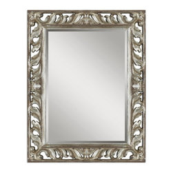 Uttermost - Uttermost 09511  Vitaliano Distressed Silver Mirror - This decorative mirror features a heavily distressed silver leaf finish with rustic undertones and black details. frame has an open design that allows wall color to show thru. may be hung either horizontal or vertical.