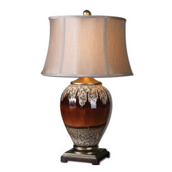 Bronze Stone Drip Table Lamp - *Glossy rust bronze glaze with an aged stone drip and silver champagne details.