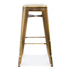 Design Lab MN - Dreux Stackable Vintage Brass Steel Barstool, Set of 4 - The Dreux steel stackable barstool is a fantastic designed barstool to add to any restaurant, bistro or coffee house. This barstool is produced in rolled steel which can withstand any high traffic area. It also can be stacked to save space if needed. Produced by Design Lab MN, this product is manufacturer to highest standards in the furniture industry.