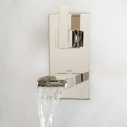 Willis Single-Control Wall-Mount Waterfall Faucet - Set on a sleek faceplate, the Willis Wall-Mount Bathroom Faucet has a waterfall spout and a rectangular lever handle. This impressive modern faucet is made of durable solid brass and is sure to draw attention.