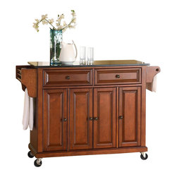 Crosley Furniture - Solid Black Granite Top Kitchen Cart/Island i - Beautiful Raised Panel Doors. Antique Brass Finish Hardware. Total of Three Adjustable Shelves Inside Cabinet. Spice Rack with Towel Bar. Towel Bar / Paper Towel Holder. Solid Black Granite Top. Solid Hardwood & Veneer Construction. 36 in. H x 52 in. W x 18 in. D (160.5 lbs.)Constructed of solid hardwood and wood veneers, this mobile kitchen cart is designed for longevity. The beautiful raised panel doors and drawer fronts provide the ultimate in style to dress up your kitchen. Two deep drawers are great for anything from utensils to storage containers. Behind the four doors, you will find adjustable shelves and an abundance of storage space for things that you prefer to be out of sight. The heavy duty casters provide the ultimate in mobility. When the cabinet is where you want it, simply engage the locking casters to prevent movement. Style, function, and quality make this mobile kitchen cart a wise addition to your home.