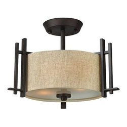 Hinkley - Sloan Regency Bronze Two-Light Semi-Flush - - Sloan's modern interpretation of the traditional forged chandelier makes a strong statement in a dark Regency Bronze finish with bold arms and natural linen hard-back shades. Hinkley - 4541RB
