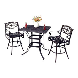 Home Styles - Home Styles Biscayne 3 Piece Outdoor Bistro Set in Black - Home Styles - Patio Bistro Sets - 5554369 - Create an intimate conversation area with Home Styles' Biscayne Space Saving Rectangle Bistro Set. Constructed of cast aluminum in a UV resistant powder-coated black finish sealed with a clear coat for protection; this set features a table and stools that are designed specifically to prevent damage caused from pooling by allowing water to pass through freely. Other features include 2-inch umbrella hole and adjustable nylon glides to prevent damage to surfaces caused by movement and provide stability on uneven surfaces. This set is made with stainless steel hardware and is perfect for small area places such as balconies.